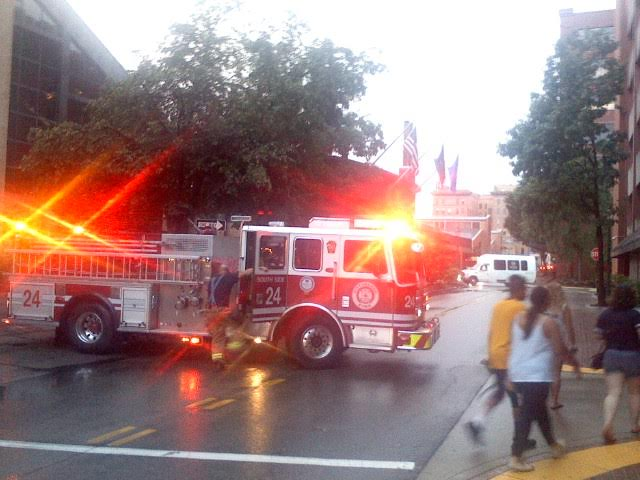 Power Outage fire trucks