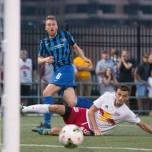 Rob Vincent watches as his shot heads into goal to help Riverhounds defeat NY Red Bulls at Highmark Stadium on 4th of July (July 2015)