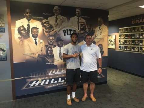 Derrek Pitts with Pitt coach Pat Narduzzi - Photo courtesy Derrek Pitts