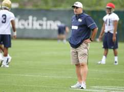 Coach Pat Narduzzi Looks on during the first practice of the season (Photo credit: David Hague)