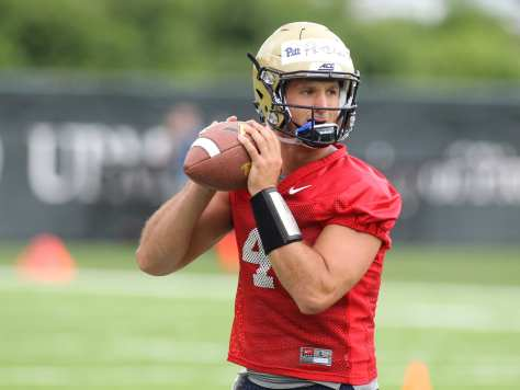Nathan Peterman drops back to pass during the first practice of the season (Photo Credit: David Hague)