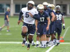 Juan Price works out during the first practice of the season (Photo credit: David Hague)