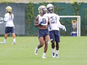 Jordan Whitehead & Malik Henderson during the first day of practice (Photo by: David Hague)