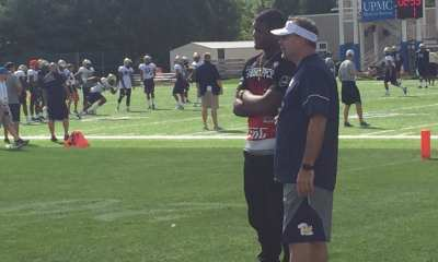 Donovan Jeter chats with Pitt head coach Pat Narduzzi (Photo credit: Alan Saunders)