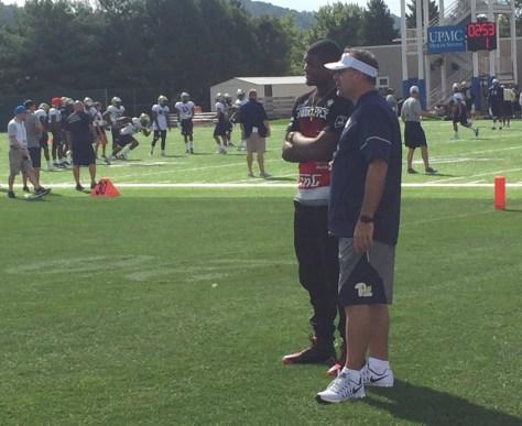 Donovan Jeter chats with Pitt head coach Pat Narduzzi (Photo credit: Alan Saunders)