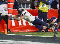 George Aston #35 of the Pittsburgh Panthers stretches to break the plane of the goal for a touchdown. The Northwestern Wildcats defeated the Pittsburgh Panthers 31-24 in the 2016 New Era Pinstripe Bowl at Yankee Stadium on Wednesday, December 28, 2016.