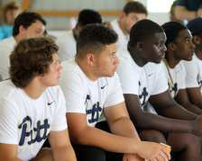 Pitt Freshman listen to Mel Blount at the Mel Blount Youth Leadership Initiative (Photo by David Hague)