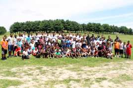 Pitt Freshman with all the kids at the Mel Blount Youth Leadership Initiative (Photo by David Hague)