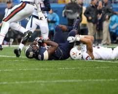 Jester Weah (85) in for the Panthers touchdown against Virginia October 28, 2017 -- David Hague
