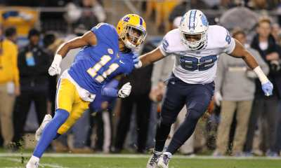 Dane Jackson (11) tries to get to North Carolina quarterback at Heinz Field on November 9, 2017 in Pittsburgh, Pennsylvania. -- DAVID HAGUE