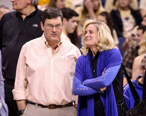 Bob Nutting and Heather Lyke before the game against West Virginia on December 9, 2017 -- DAVID HAGUE
