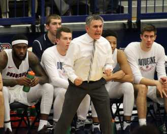 Head Coach Keith Dambrot disagrees with a call as the Duquesne Dukes took on Lamar December 19, 2017 -- DAVID HAGUE