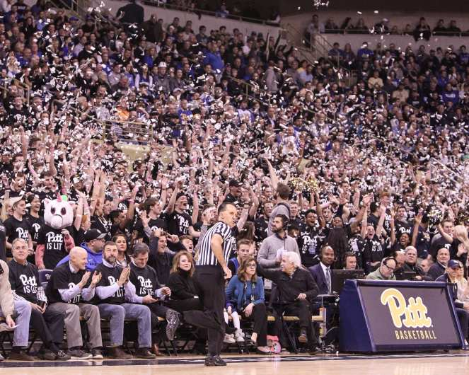 The Oakland Zoo celebrates the first points against Duke on January 10, 2018 -- DAVID HAGUE