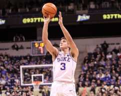 Grayson Allen with the uncontested 3 pointer against Pitt on January 10, 2018 -- DAVID HAGUE