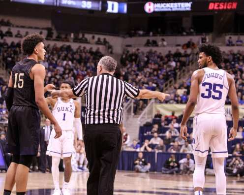 Kene Chukwuka (15) and Marvin Bagley III (35) both get called for the foul on January 10, 2018 -- DAVID HAGUE