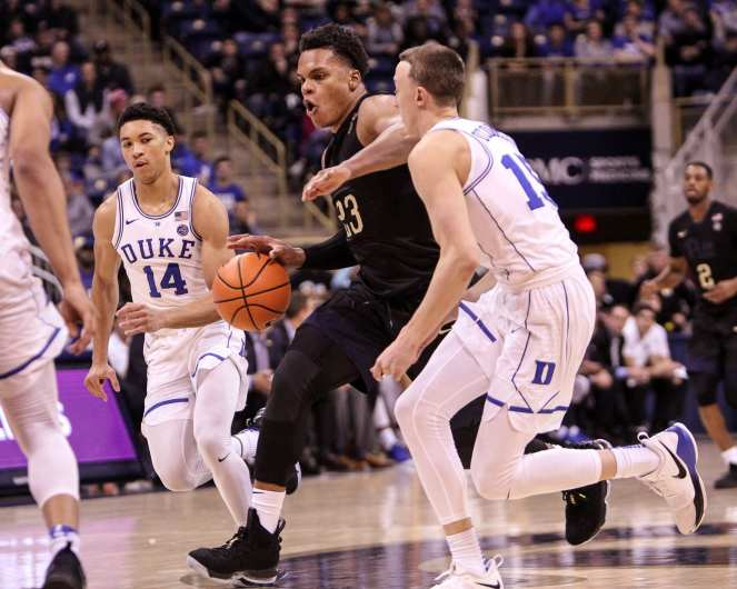 Shamiel Stevenson (23) drives the lane against Duke on January 10, 2018 -- DAVID HAGUE