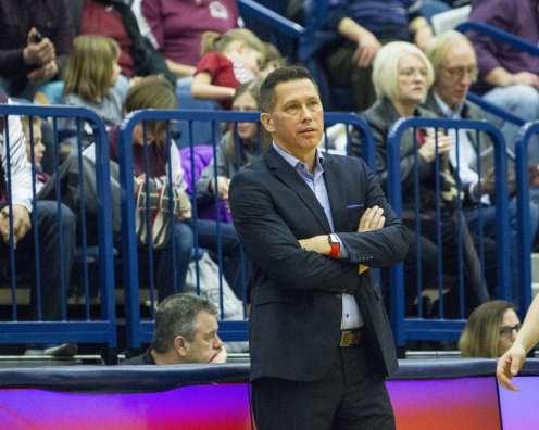 Head Coach Dan Burt February 10, 2018 -- DAVID HAGUE