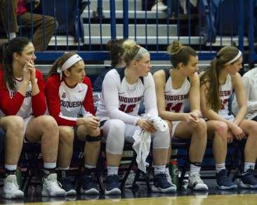 Duquesne women's basketball bench February 10, 2018 -- DAVID HAGUE