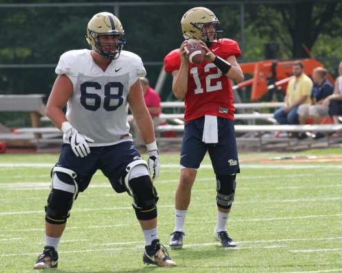 Nick Patti (12) and Blake Zuboovic (68) Practice August 16, 2018 -- DAVID HAGUE