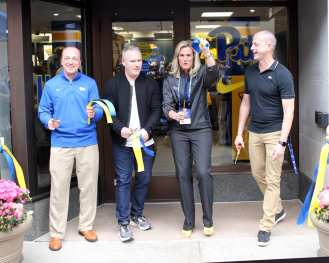 Cutting of the ribbon on The Pitt Shop April 7, 2019 -- David Hague/PSN