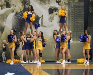 Pitt Cheerleaders at Pitt Volleyball October 5, 2018 -- DAVID HAGUE