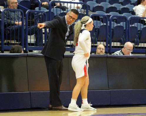 Coach Dan Burt talks to Chassidy Omogrosso (2) November 12, 2018 -- David Hague/PSN