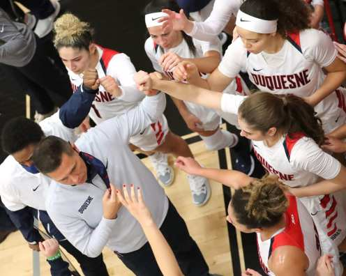 Duquesne Women Basketball Dan Burt January 8, 2021 Photo by David Hague/PSN
