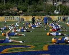 Pitt football stretching August 2, 2019 -- Photo by David Hague/PSN