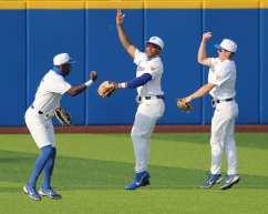 Outfield celebrate a win Pitt Baseball April 6, 2021 Photo by David Hague/PSN
