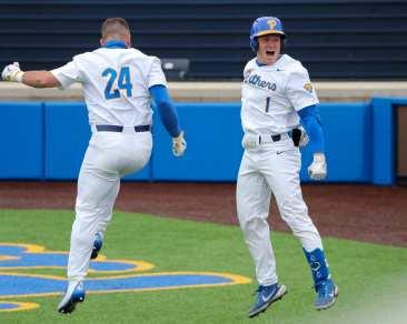 David Yanni (24) and Nico Popa (1) Pitt Baseball April 17, 2021 Photo by David Hague/PSN