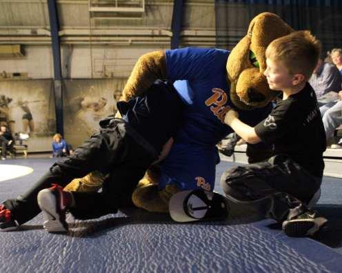 Roc Wrestles kids before the Pitt Wrestling match December 15, 2018 -- David Hague/PSN