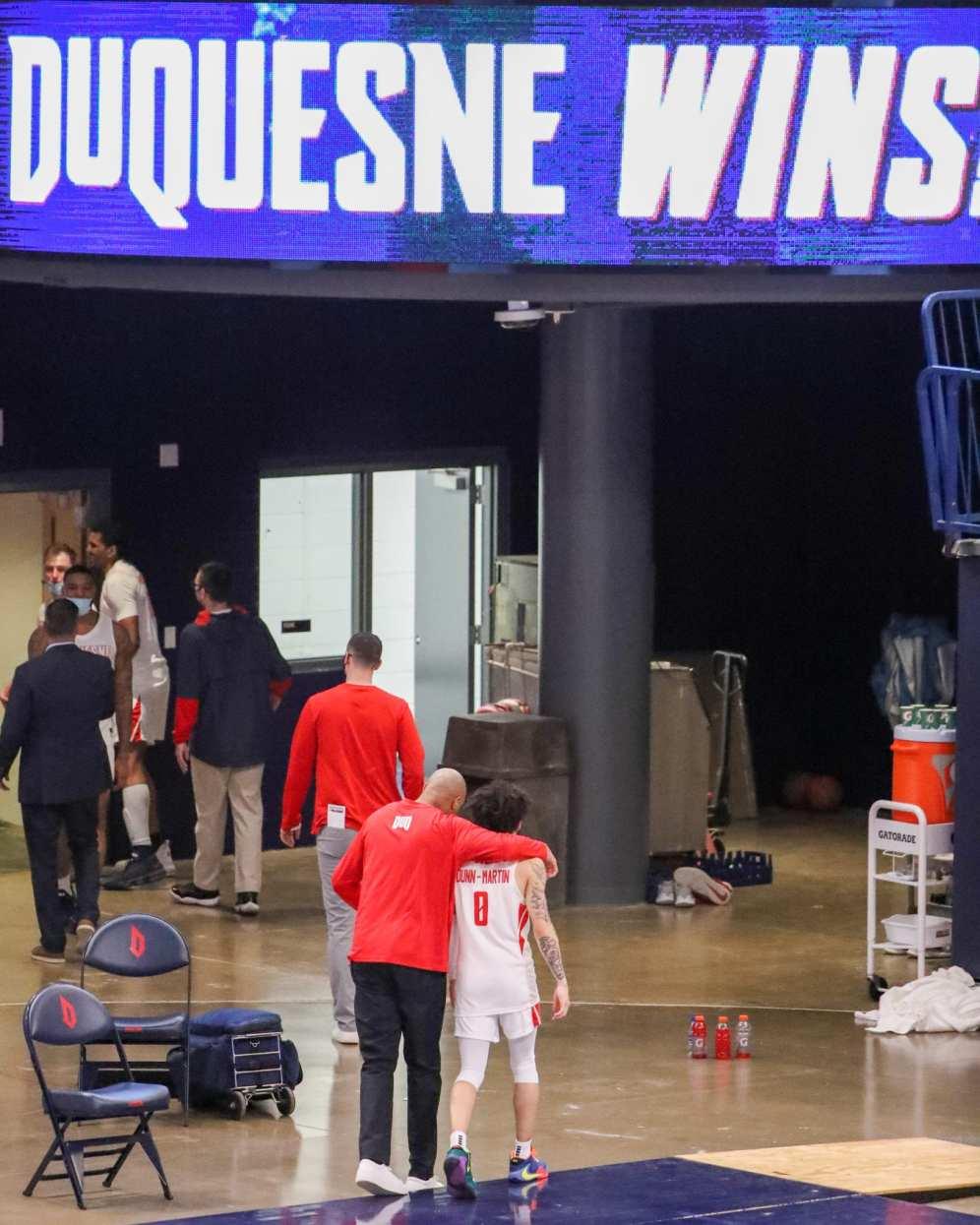 Tavian Dunn-Martin (0) walks off after a Duquesne Win February 27, 2021 - Photo by David Hague/PSN