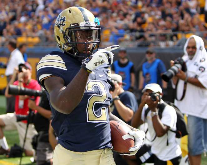 Maurice Ffrench (2) celebrates his touchdown September 1, 2018 -- DAVID HAGUE