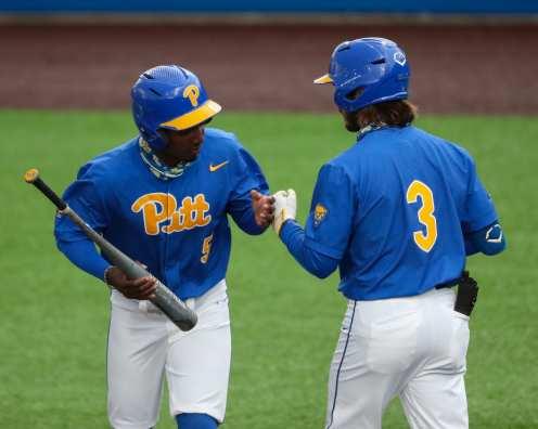Jordan Anderson (5) and Sky Duff (3) Pitt Baseball March 28, 2021 - Photo by David Hague/PSN