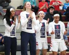 Duquesne women's basketball bench March 3, 2020 - David Hague/PSN
