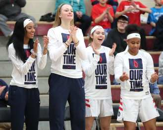 Duquesne women's basketball bench March 3, 2020 - David Hague/PSN