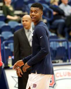 Eric Williams Jr (50) smiles during warm ups March 2, 2019 -- David Hague/PSN