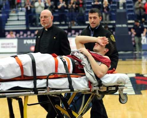 Saint Joseph's Pierfrancesco Oliva (24) was taken off on a stretcher. January 12, 2019 -- David Hague/PSN
