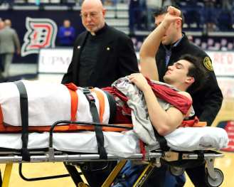 Saint Joseph's Pierfrancesco Oliva (24) was taken off on a stretcher. January 12, 2019 -- David Hague/PSN