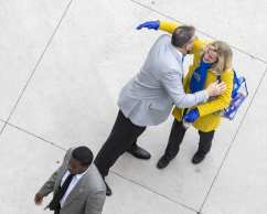 Pat Narduzzi greets Heather Lyke as they enter Heinz Field November 30, 2019 -- David Hague/PSN