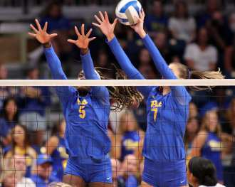 Chinaza Ndee (5) and Layne Van Buskirk (7) for Pitt Volleyball September 22, 2019 -- David Hague/PSN