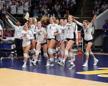 Penn State Volleyball celebrates winning September 22, 2019 -- David Hague/PSN