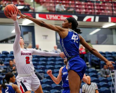 Chassidy Omogrosso (2) blocked by Brooke Flowers (42) March 8, 2019 -- David Hague/ PSN