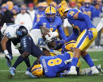 Pitt Defense stops Micheal Carter (8) November 14, 2019 -- David Hague/PSN