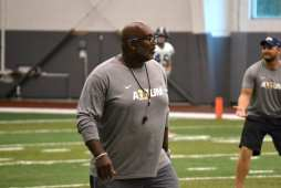 Pitt special teams coordinator and running backs coach Andrew Powell at practice on Sept. 18. 2018