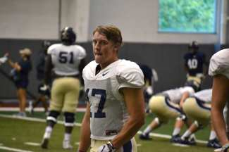 Pitt wide receiver Kellen McAlone at practice on Sept. 18, 2018.