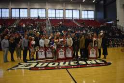 The Duquesne women's basketball seniors are recognized prior to Saturday's win against St. Bonaventure. -- Zachary Weiss/Pittsburgh Sports Now