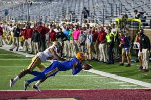 Oct. 10, 2020; Chestnut Hill, Massachusetts, USA; Pittsburgh Panthers wide receiver Tre Tipton (6) drops a touchdown pass while pressured by Boston College Eagles defensive back Brandon Sebastian (10) during an ACC matchup between Pittsburgh and Boston College. The Eagles won the game 31-30 in overtime over the Panthers. Credit © Brian Foley for Foley-Photography.
