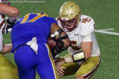 Oct. 10, 2020; Chestnut Hill, Massachusetts, USA; Pittsburgh Panthers defensive lineman Rashad Weaver (17) grabs the ball away Boston College Eagles quarterback Phil Jurkovec (5) during an ACC matchup between Pittsburgh and Boston College. The Eagles won the game 31-30 in overtime over the Panthers. Credit © Brian Foley for Foley-Photography.