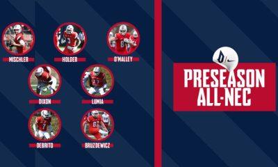 The lineup of preseason NEC award winners for the Dukes (Photo: Duquesne Football via Twitter)